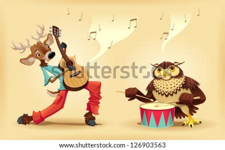 musicians animals cartoon and