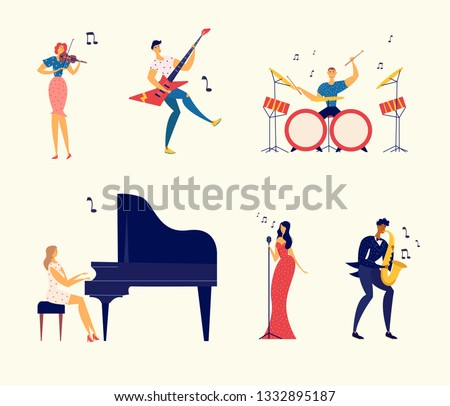 Funny Cartoon Man Is Playing Piano Royalty Free Cliparts, Vectors, And  Stock Illustration. Image 59758932.