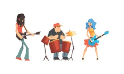 Musicians People Set, Guitarist, Singer, Drummer Characters Playing on Music Instruments and Singing Vector Illustration
