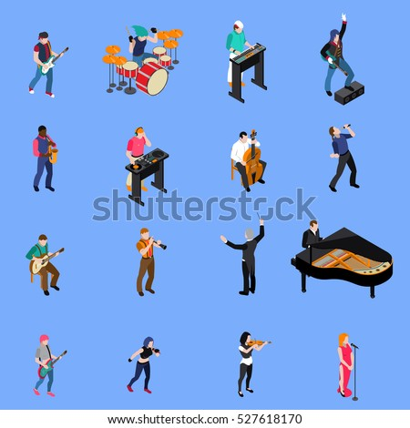 Musicians people singing and playing various musical instruments isometric icons set isolated on blue background vector illustration
