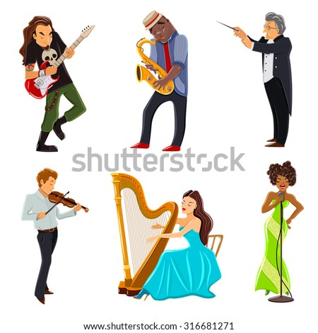 musicians playing harp violin