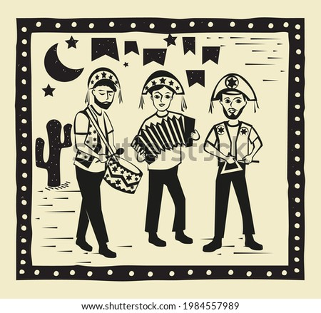 Musicians playing in Festa Junina vector. Traditional Brazilian music concept. Woodcut style illustration.