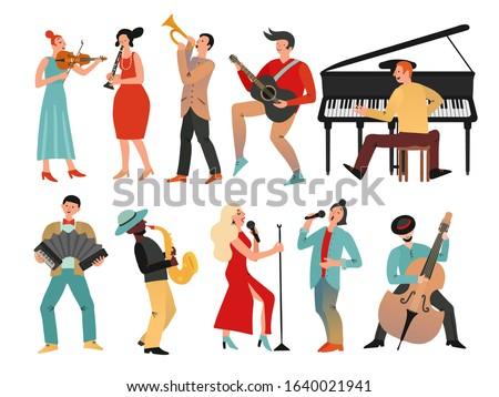 Musicians. Professional orchestra and musician band. Isolated people with music instruments. Vector male and female musical characters ストックフォト ©