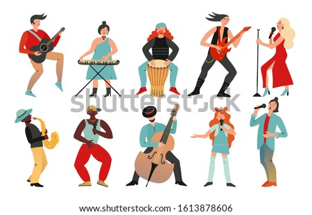 Musicians. Rock band, pop musician. Music instruments guitarists drummers, singers artists with microphones, cartoon characters vector set