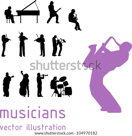 musicians silhouette over white background. Vector illustration