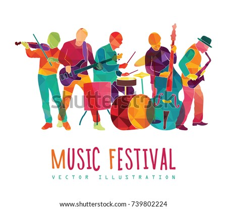 Musicians silhouettes. Colorful music background. Music festival. Vector illustration
