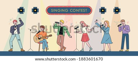 Musicians singing in a singing contest. Characters playing guitar or dancing and singing in various poses. flat design style minimal vector illustration.