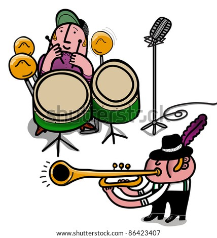 musicians with drum and trumpets