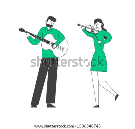 Musicians with Instruments Perform on Stage with Violin and Guitar. Classical, Popular Music Concert Performance on Philharmonic Scene, Instrumental Ensemble. Flat Vector Illustration, Line Art