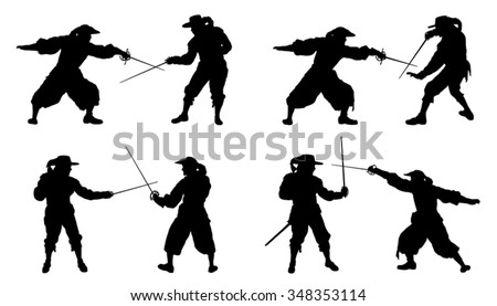 musketeer duel silhouettes on