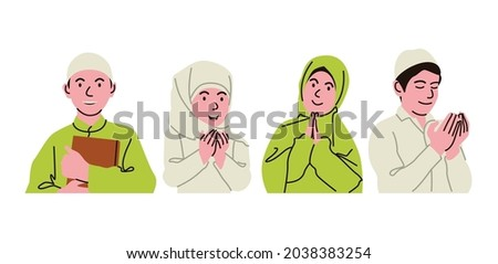 Muslim children are diligent to worship, they are educated by parents and religious teachers to become pious children. Imagine de stoc ©