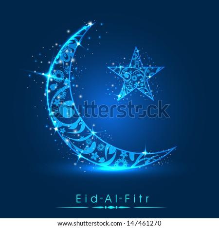 Muslim community festival Eid Al Fitr (Eid Mubarak) concept with decorated shiny moon and star on shiny blue background.