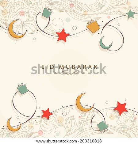 Muslim community festival Eid Mubarak celebrations background with golden moon and stars on beige background.