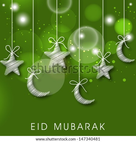 Muslim community festival Eid Mubarak concept with shiny stars and moons on abstract green background