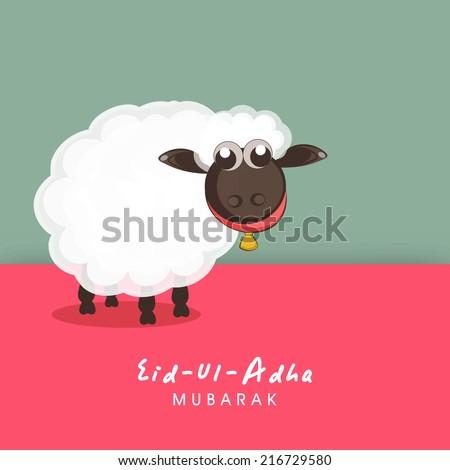 Muslim community festival of sacrifice Eid-Ul-Adha greeting card design with sheep on colorful background