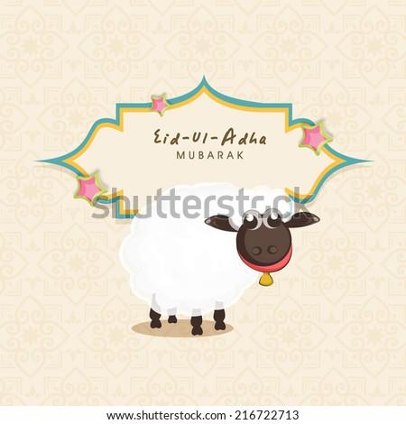 Muslim community festival of sacrifice Eid-Ul-Adha greeting card with sheep