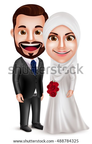 muslim couple vector characters