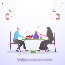 Muslim families eat iftar of Ramadan together in happiness. Illustration concept of ramadan kareem