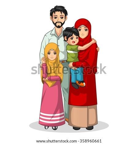 Muslim Family Cartoon Character Vector Illustration