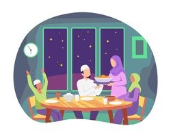 Muslim family eating Ramadan iftar together. Moslem family preparing iftar meal, Praying before having iftar. Enjoying ramadan together in happiness during fasting. Vector illustration in a flat style