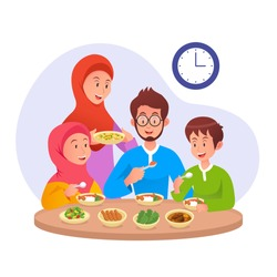 Muslim Family eating sahur or eat early morning before fasting day. ramadan vector illustration