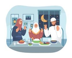 Muslim family praying before having iftar. Ramadan kareem flat cartoon character illustration