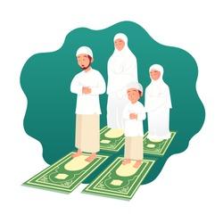 Muslim family praying together. ramadan concept illustration