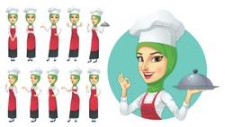 Muslim Female Chef Character Set, Vector EPS 10