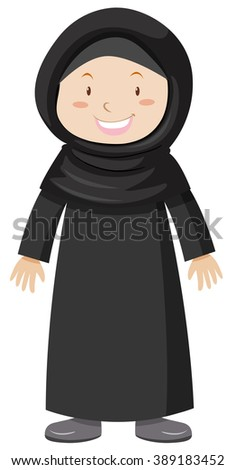 Muslim girl in black dress illustration