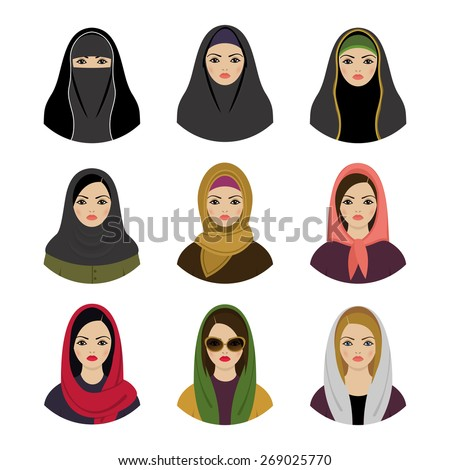 muslim girls avatars set asian