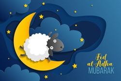 Muslim holiday Eid al-Adha Mubarak. Eid al-Adha Mubarak greeting card with cute sheep. Celebration Kurban Bayrami. Translation from Arabic: Eid al-Adha. Vector EPS 10