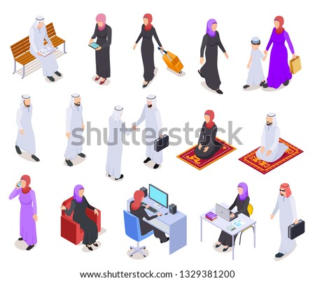 Muslim isometric. Arab 3d people, saudi business woman and man in traditional clothes. Arabian isolated vector characters