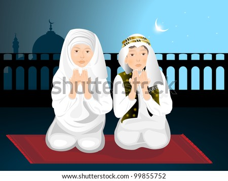 Muslim kids girl and boy reading namaj Islamic prayer and mosque on night background EPS 10 vector illustration.