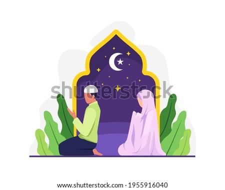 Muslim man and his wife doing prayer together. Muslim people tarawih prayer in congregation. Muslim Perform taraweeh prayer night during ramadan. Prayers in congregation at home. Vector in flat style
