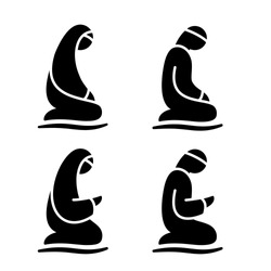 Muslim man and woman making a supplication (salah, namaz) while sitting on a praying rug. Silhouette icon set includes 4 versions islamic prayer in different pose. Vector illustration.