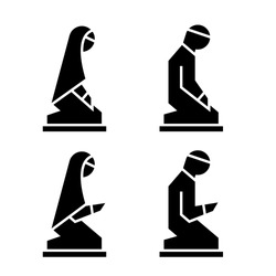 Muslim man and woman making a supplication while sitting on a praying rug. Silhouette icons includes 4 versions islamic prayer in different poses. Vector illustration.