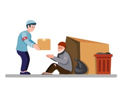 muslim man giving food box to homeless people, volunteer help and support poor old man. in cartoon flat illustration vector isolated in white background