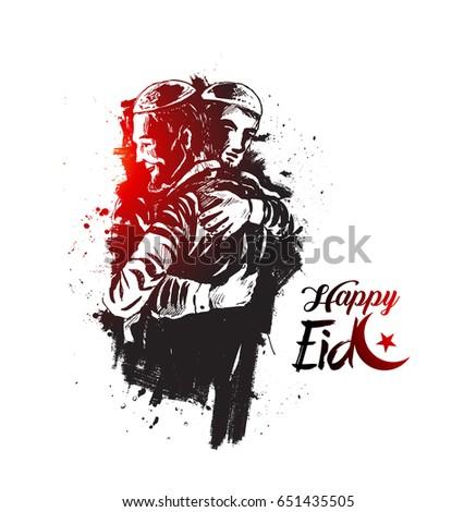 muslim man hugging and wishing