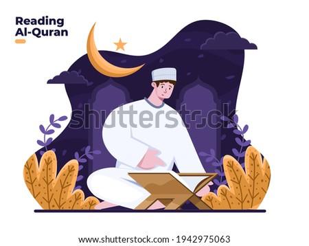 Muslim man reading holy Quran illustration vector. Orang sedang mengaji Translate : Muslim people Recitation Quran when Ramadan month or fasting month. Fasting month positive activity.