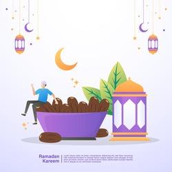 Muslim men are happy and enjoy the iftar meal of Ramadan. Illustration concept of ramadan kareem