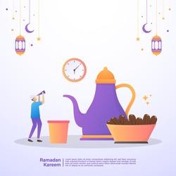 Muslim men are waiting for the time to iftar of Ramadan. Illustration concept of ramadan kareem