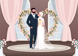 Muslim newlyweds flat color vector illustration. Bride and groom near luxury photozone. Floral arch wedding decoration. Islam couple 2D cartoon characters with interior on background