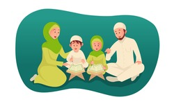 muslim parent teaching holy quran for his children. ramadan concept illustration