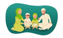 muslim parent teaching holy quran for his children. ramadan concept illustration