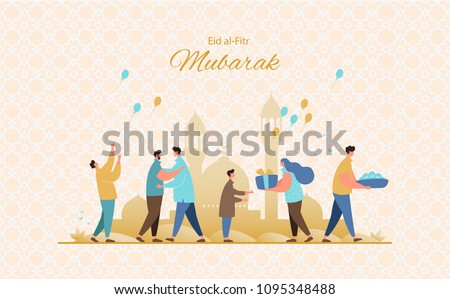 Muslim people feast of breaking the fast.Happy muslim community give gifts, charity and congratulate each other. Eid al-Fitr greeting card vector
