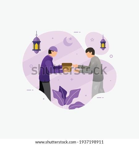 Muslim people giving sadaqa to poor people flat vector cartoon illustration ramadhan kareem