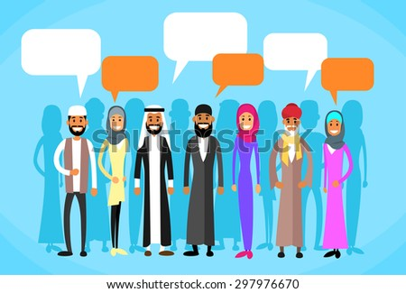 Muslim People Group Talking Discussing Chat Communication Social Network Man and Woman Traditional Clothes Arabic Indian Characters Flat Vector Illustration