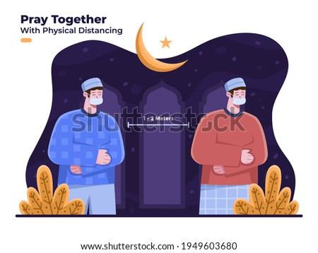 Muslim person praying at mosque while Ramadan Kareem holy month with wear face mask and with physical distancing to prevent Covid-19 coronavirus. Tarawih prayer at Ramadan month. Fasting month.