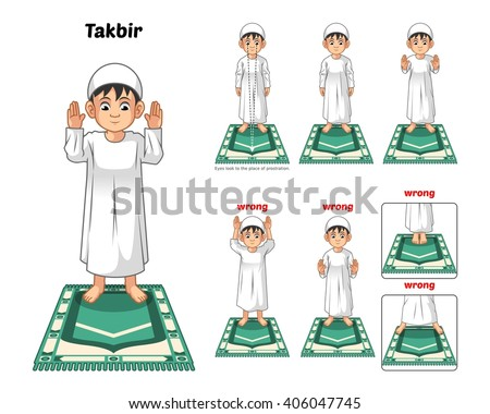 Muslim Prayer Position Guide Step by Step Perform by Boy Standing and Raising The Hands with Wrong Position Vector Illustration