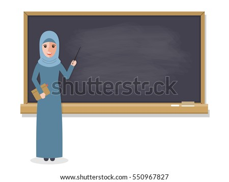 Muslim teacher, professor standing in front of blackboard teaching student in classroom at school, college or university. Flat design people characters.